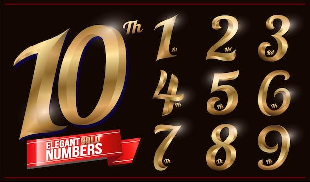 Eleganti numeri in metallo cromato color oro. 1, 2, 3, 4, 5, 6, 7, 8, 9, 10, logo Vettore Premium