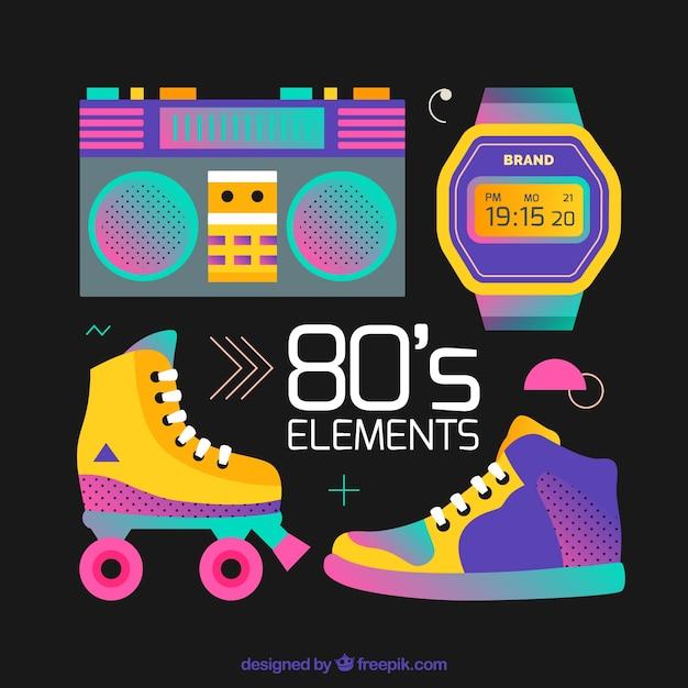 Elementi anni ottanta su sfondo nero Vettore gratuito