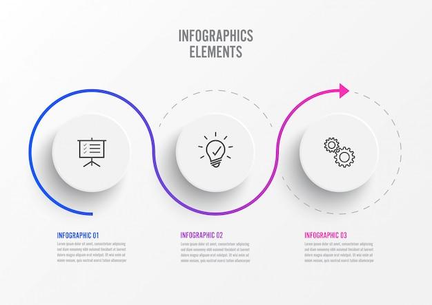 Elementi astratti del modello di grafico infografica con etichetta, cerchi integrati. concetto di business con 3 opzioni. Vettore Premium