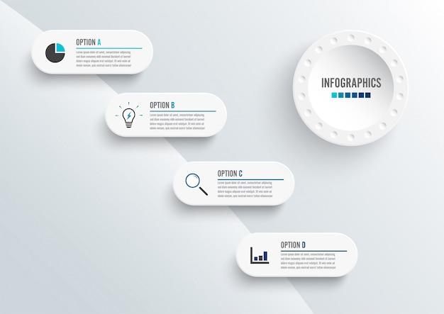 Elementi astratti del modello di grafico infografica con etichetta, cerchi integrati. concetto di business con 4 opzioni. Vettore Premium