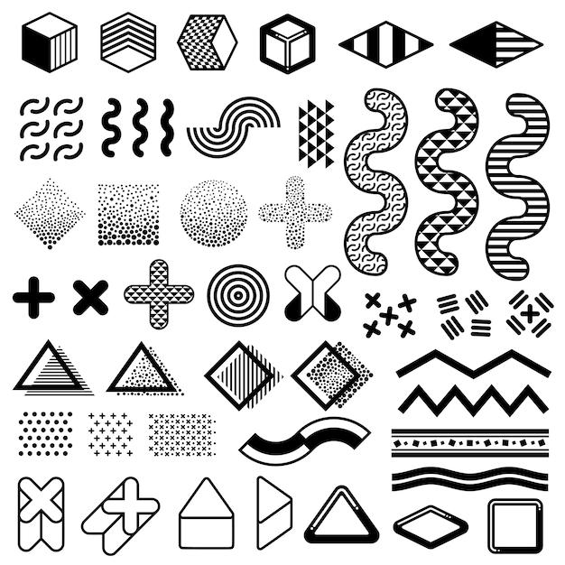 Elementi astratti di vettore di modo degli anni 80 per progettazione di memphis. forme grafiche moderne per modelli di tendenza Vettore Premium