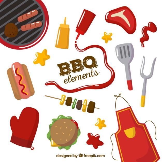 Elementi bbq set Vettore gratuito