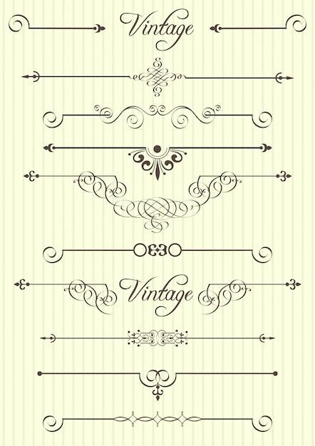 Elementi calligrafici e decorazioni di pagina Vettore Premium