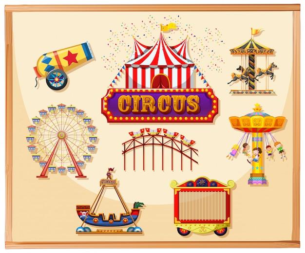 Elementi circensi per poster tra cui canone, gabbia, giochi e giostre Vettore gratuito