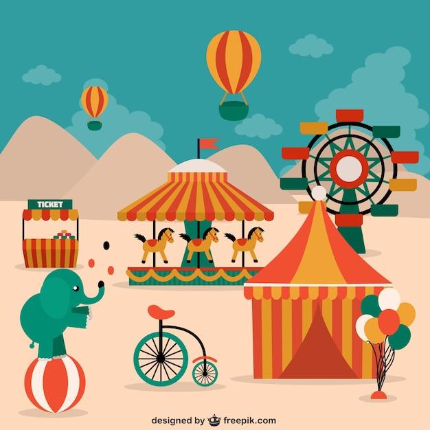 Elementi circo, animali e decorazioni Vettore gratuito