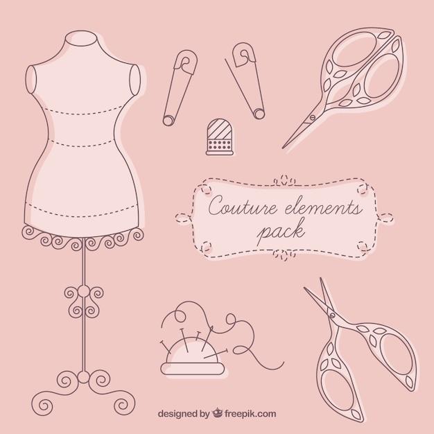 Elementi couture Vettore gratuito