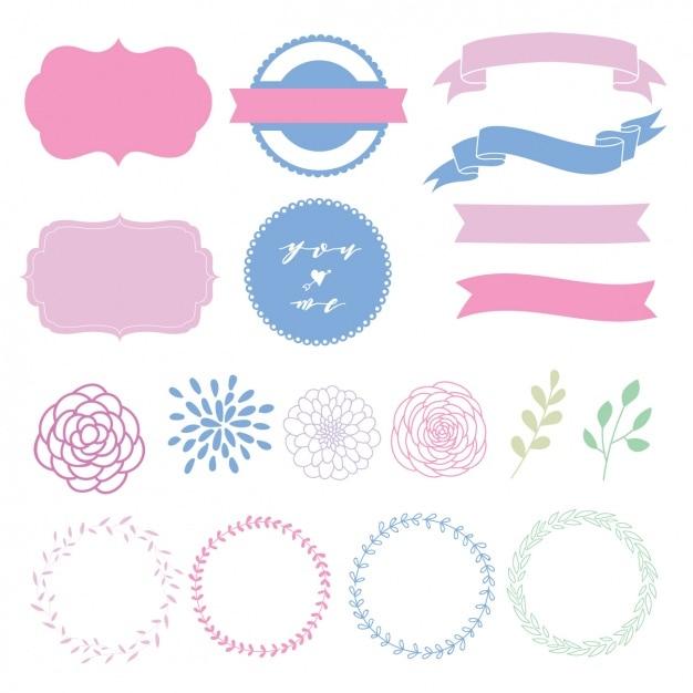 Elementi decorativi collezione Vettore gratuito