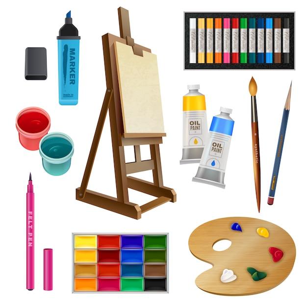 Elementi decorativi isolati artistici Vettore gratuito