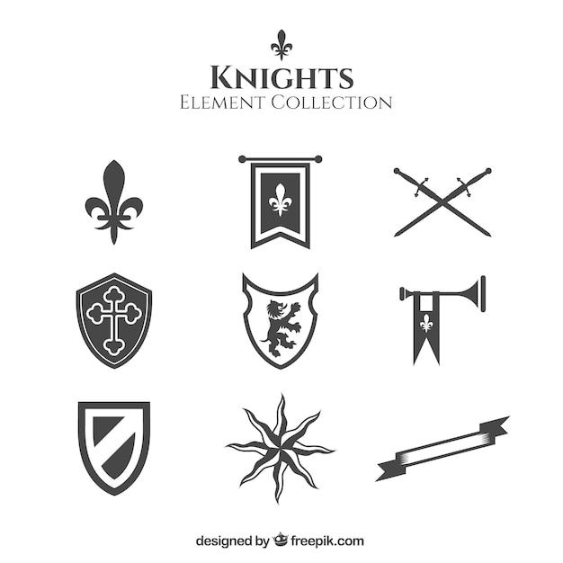 Elementi dei cavalieri con stile elegante Vettore gratuito
