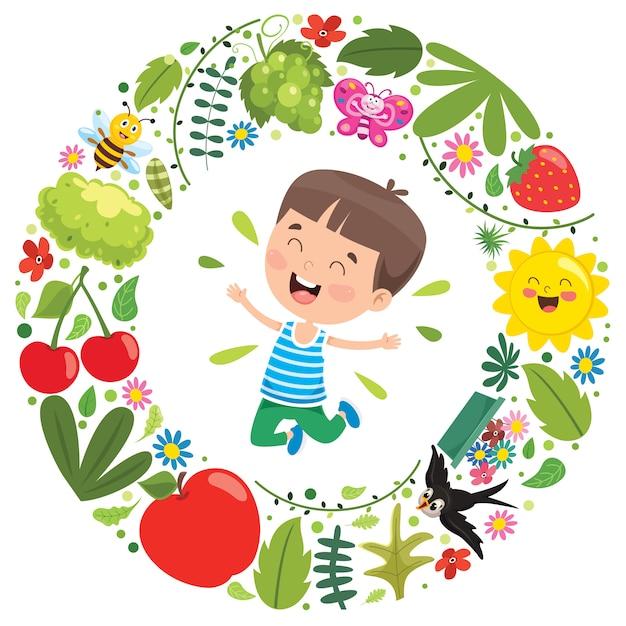 Elementi del bambino e della natura Vettore Premium
