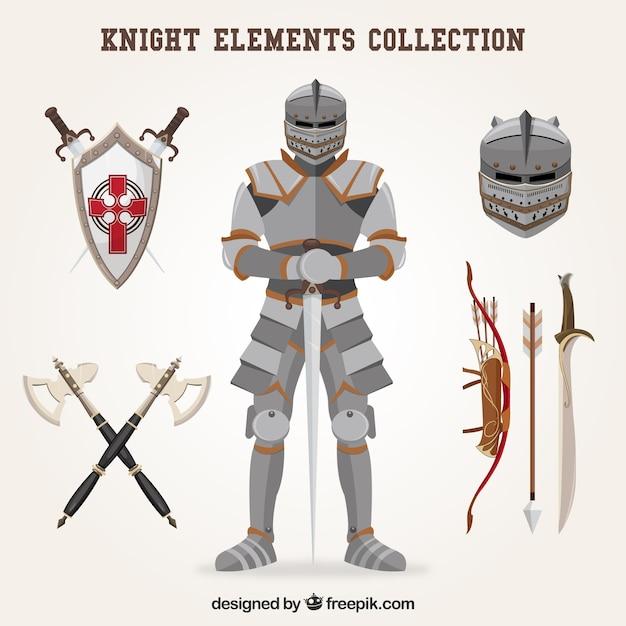 Elementi del cavaliere con stile classico Vettore gratuito