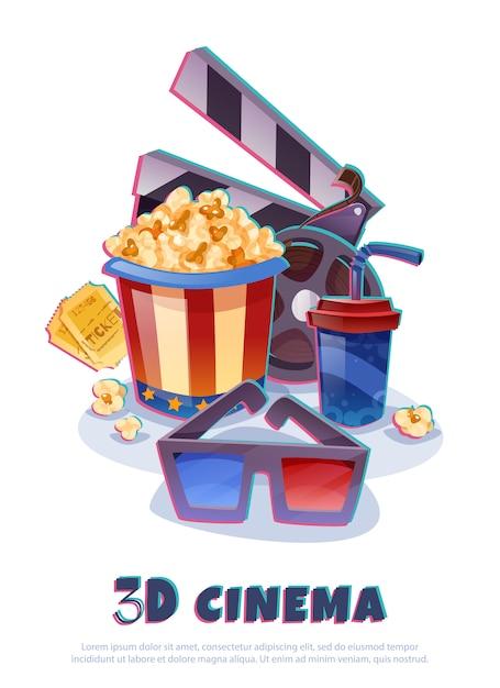 Elementi del cinema 3d Vettore gratuito