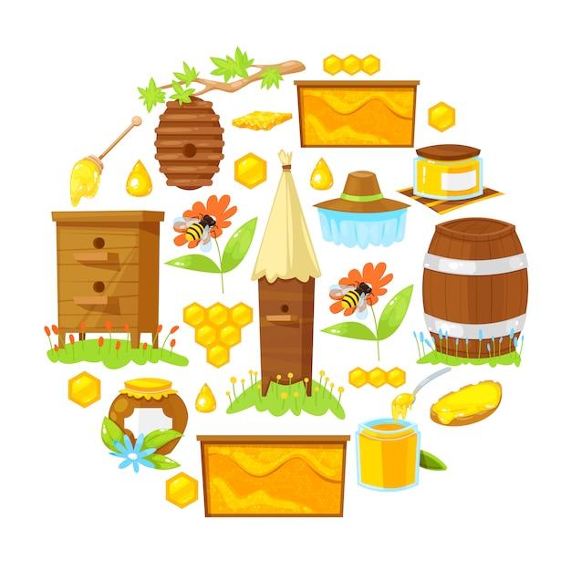 Elementi del fumetto dell'apicoltura Vettore Premium