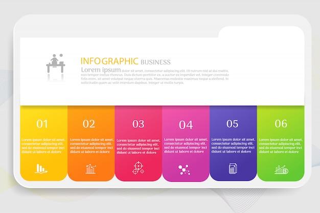 Elementi del grafico infographic di opzioni modello 6 di affari Vettore Premium