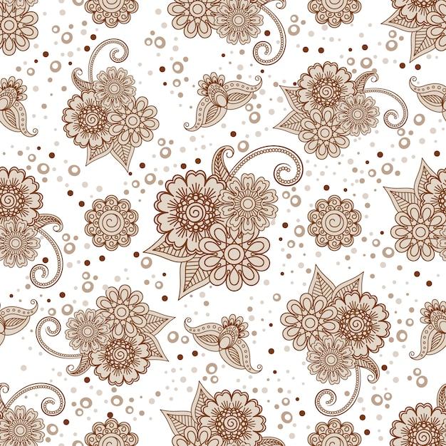 Elementi del hennè con reticolo senza giunte di punti Vettore Premium