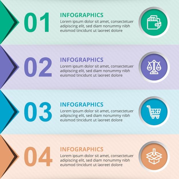Elementi del modello di infographic di affari di vettore con cerchi colorati Vettore Premium