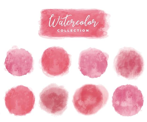 Elementi dell'acquerello della raccolta rossi e rosa Vettore gratuito