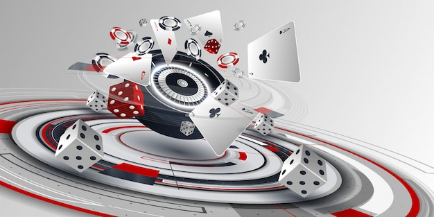 Elementi della carta da poker del casinò e della ruota della roulette Vettore Premium