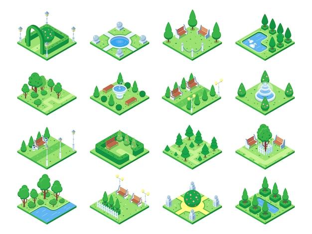 Elementi della foresta naturale Vettore Premium