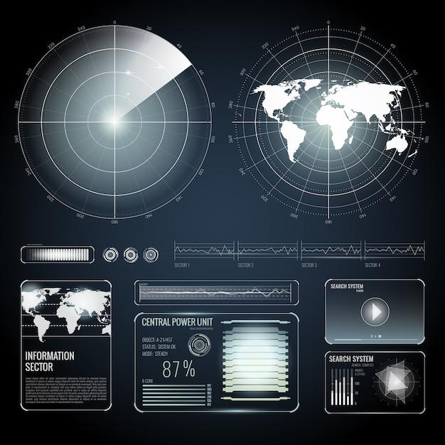 Elementi dello schermo del set di ricerca radar Vettore gratuito