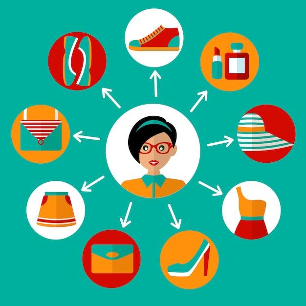 Elementi dello shopping online Vettore gratuito