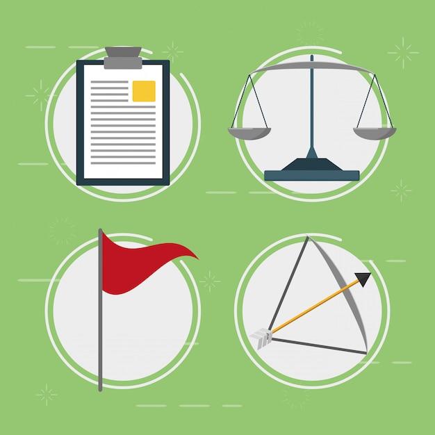 Elementi di affari, equilibrio, bandiera, freccia, stile piano Vettore gratuito