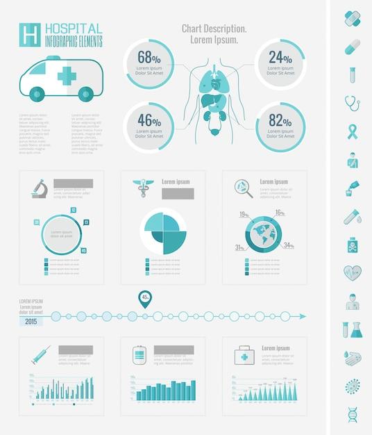 Elementi di assistenza sanitaria infografica. Vettore Premium