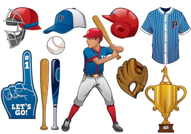 Elementi di baseball nel set Vettore Premium