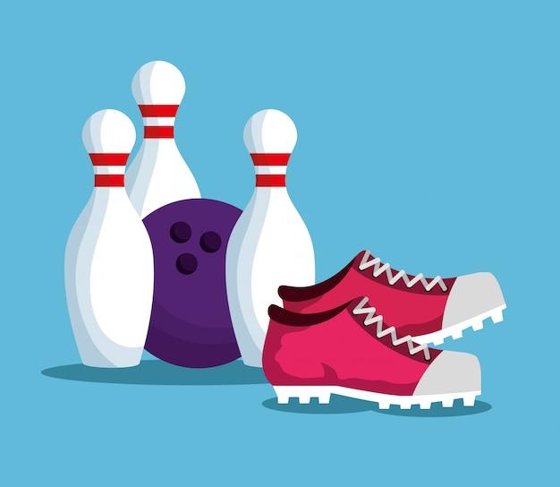 Elementi di bowling Vettore gratuito