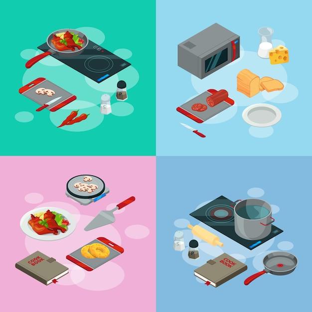 Elementi di cottura. vettore che cucina l'illustrazione isometrica dell'alimento Vettore Premium