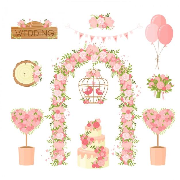 Elementi di decorazione floreale per feste di matrimonio. mazzo di fiori, bouquet di vacanze, arco, torta, colombe auguri, elementi di design del poster. set di decorazioni per cerimonia, matrimonio, collezione di articoli per la celebrazione del fidanzamento. Vettore Premium