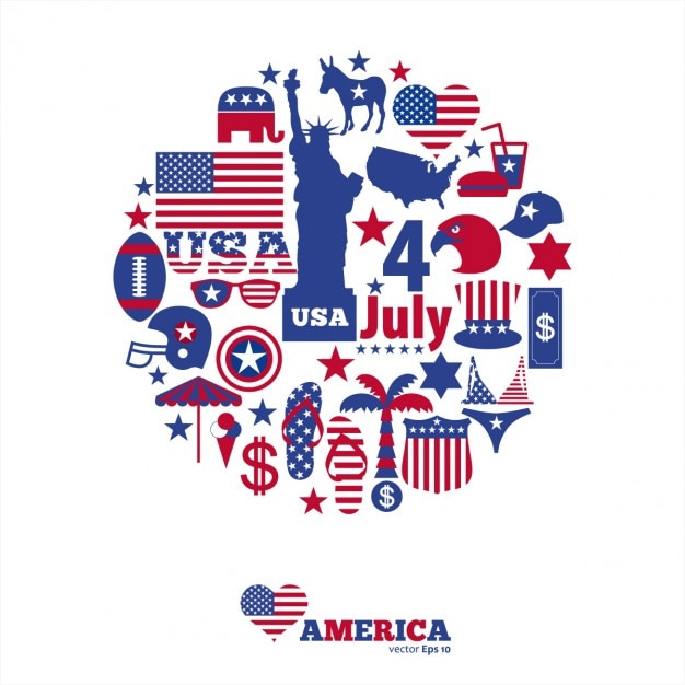 Elementi di design americano Vettore gratuito