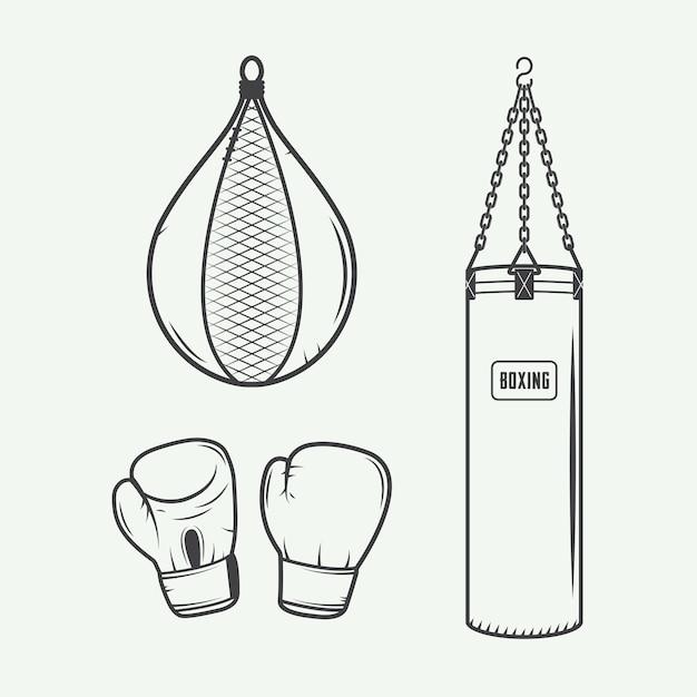 Elementi di design boxe Vettore Premium