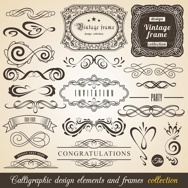 Elementi di design calligrafici e cornici Vettore Premium