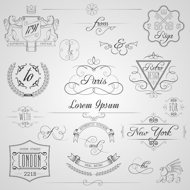 Elementi di design calligrafici Vettore gratuito