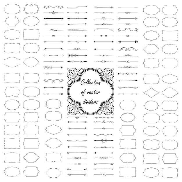 Elementi di design calligrafico. divisori, cornici di diverse forme Vettore Premium