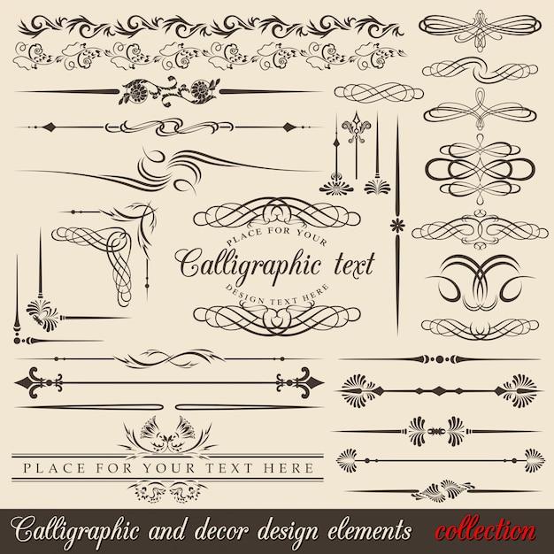 Elementi di design calligrafico Vettore Premium