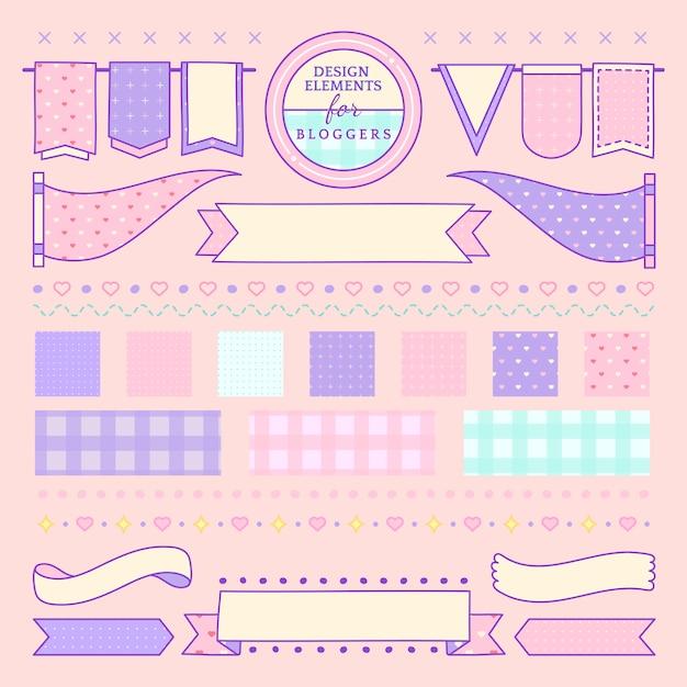 Elementi di design carino e girly per il vettore di blogger Vettore gratuito