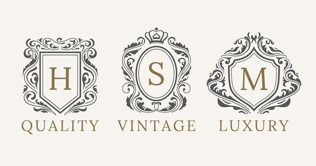 Elementi di design del marchio di lusso calligraphyc Vettore Premium