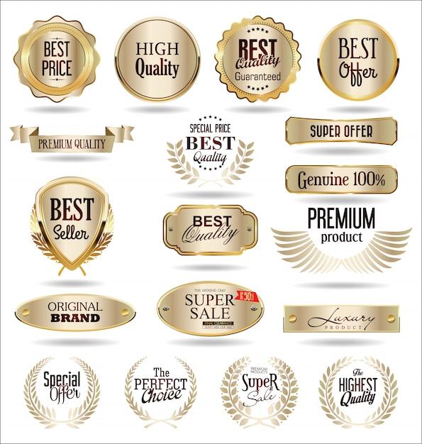 Elementi di design dorato di lusso Vettore Premium