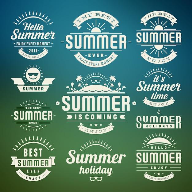 Elementi di design estivo e simboli etichette tipografiche e distintivi Vettore Premium