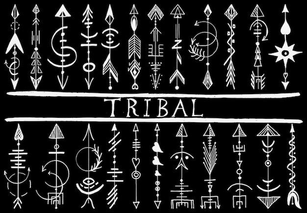 Elementi di design freccia disegnata a mano tribale Vettore Premium
