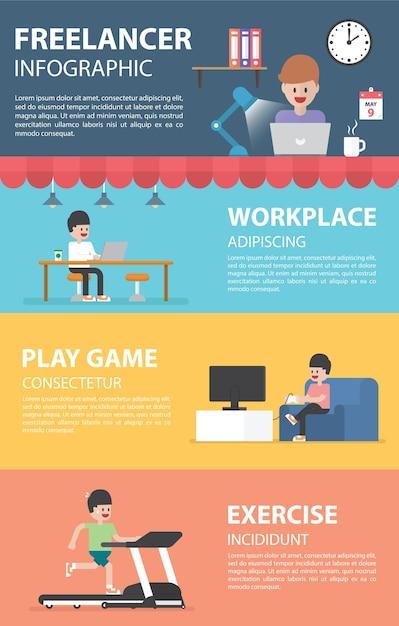 Elementi di design infografica freelance Vettore Premium