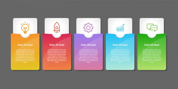 Elementi di design infografico vettoriale. design infografico del flusso di lavoro del numero di opzione Vettore Premium