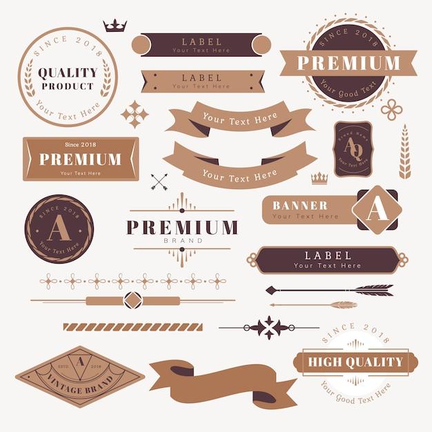Elementi di design logo e banner Vettore gratuito