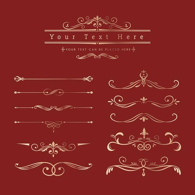 Elementi di design ornamentale d'epoca Vettore gratuito