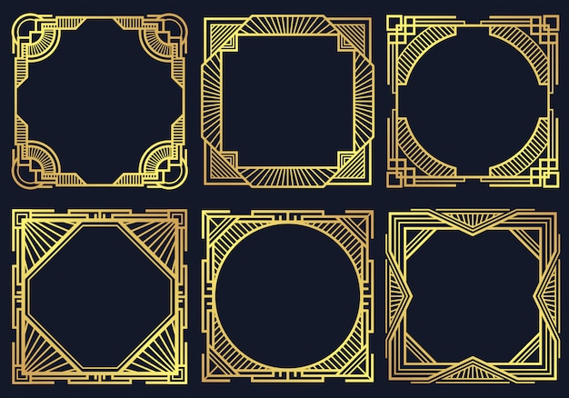 Elementi di design vintage art deco Vettore Premium