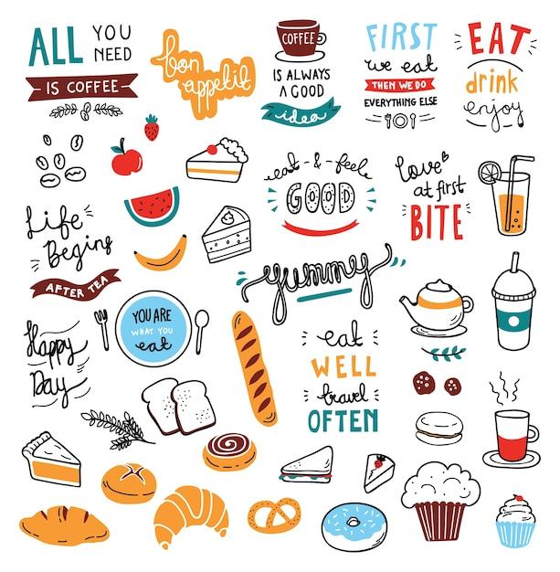 Elementi di doodle di tema cafe Vettore Premium