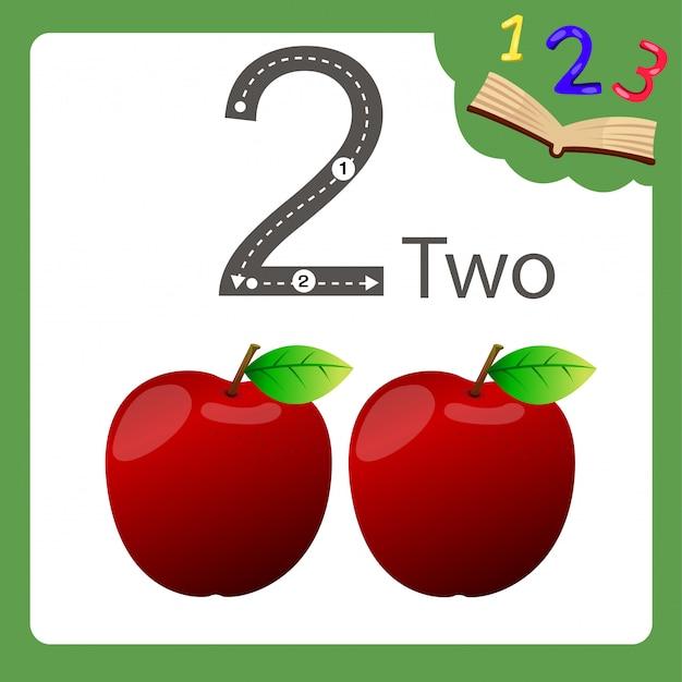 Elementi di due numeri mela Vettore Premium