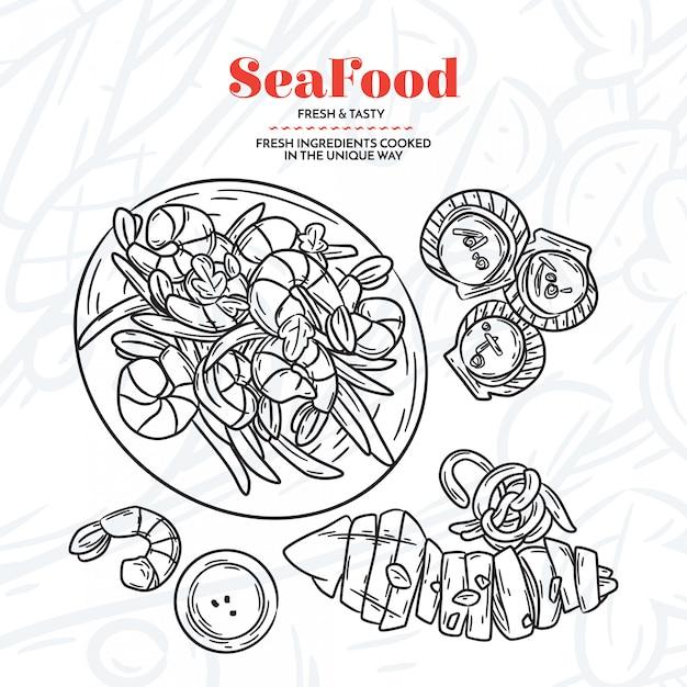 Elementi di frutti di mare disegnati a mano Vettore gratuito